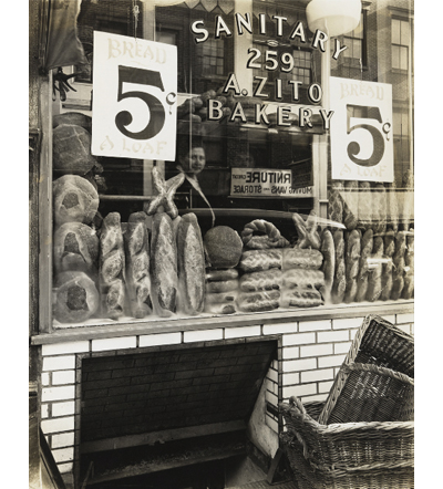 Berenice Abbott, Zito's Bakery, 259 Bleecker Street , 1937, from Changing New York, 1935–39, gelatin silver print.  The Jewish Museum, New York, Purchase: Mimi and Barry J. Alperin Fund