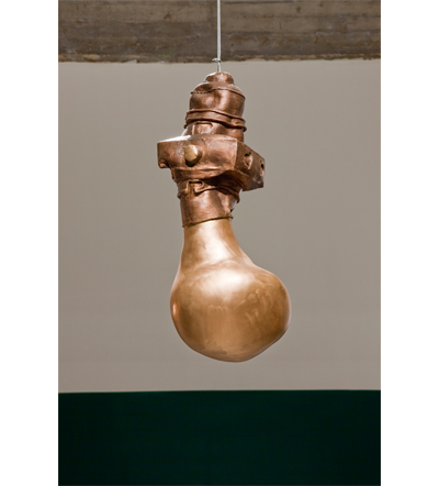 "Zhang Xiaogang Lamp No. 2, 2009 bronze 30-1/2"" x 12-1/2"" x 13"" © 2011 Zhang Xiaogang Photo courtesy The Pace Gallery"