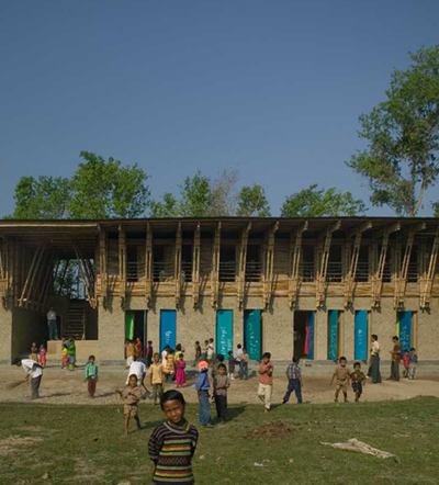 METI – Handmade School. Rudrapur, Bangladesh.  2004-06.  By Anna Heringer and Eike Roswag.  Image: Kurt Hörbst (Click to enlarge)