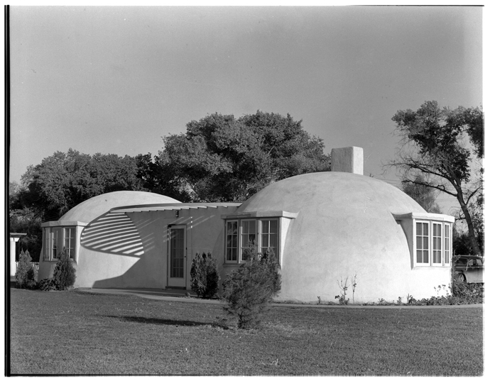 A newly-completed double-bubble house, 1942.