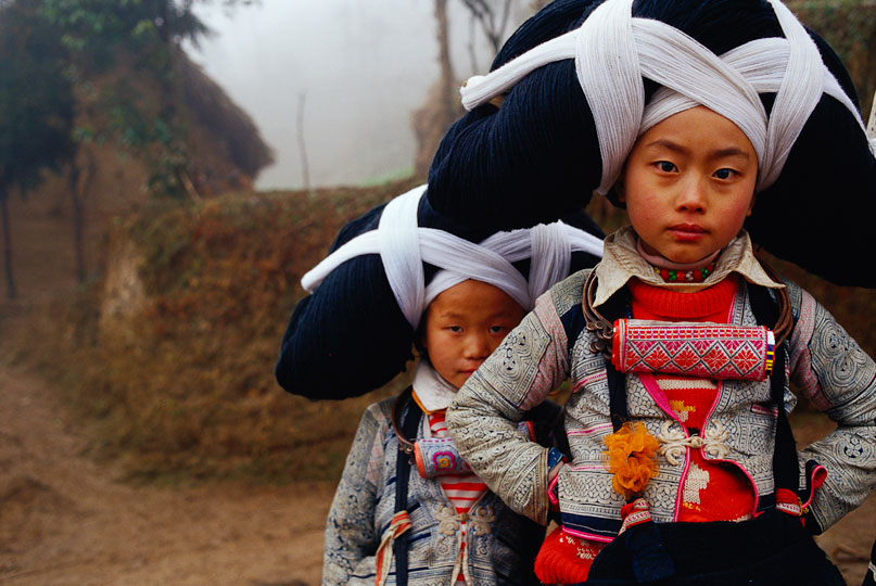 Maynard Switzer: Long Horn Miao Sisters, China