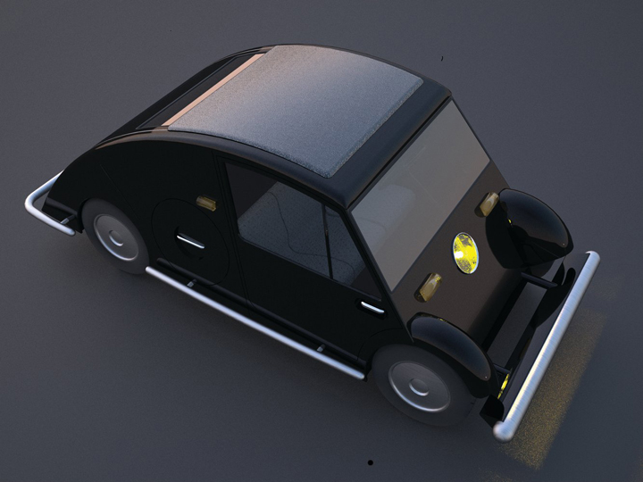 RENDERING BLACK. All images: Voiture Minimum, 1936, by Le Corbusier and Pierre Jeanneret.  Virtual reconstruction by Antonio Amado Lorenzo.