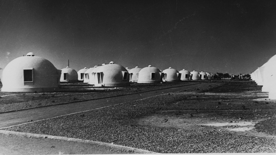 Street view of Airform houses, Dakar, Senegal, circa 1953.