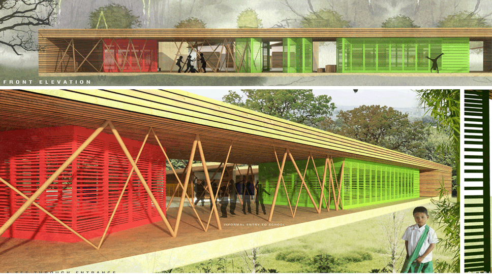 Winning student entry for Mae-Sot School.  By Ms.Gauri Satam and Mr.Tejesh Patil, Sir J.J. College of Architecture, Mumbai, India.