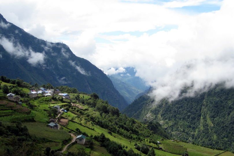 <em>Mountain village near Phakding, Nepal</em>, John Chan
