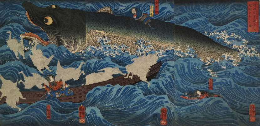 Tametomo Escapes a Crocodile-Shark and is Saved from Suicide by Tengu, 1851.