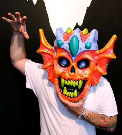 Justin Giarla with one of Skinner's masks