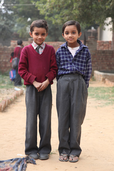 <em>Schoolgirls dressed as boys in rural Harayana India</em>, Jennifer MacFarlane
