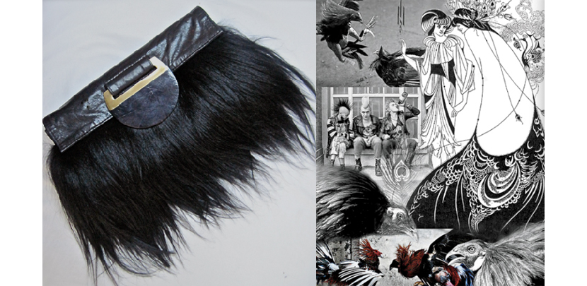 Right: Collage of Augousti inspirations: Aubrey Beardsley illustrations; 1970's London punks, fighting cocks; Left: Goat hair and lamb skin bag with black agate stone detail