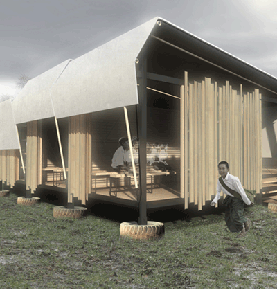 Winning design for Mae-Sot School.  By Amadeo Bennetta / Daniel LaRossa, Berkeley, CA.