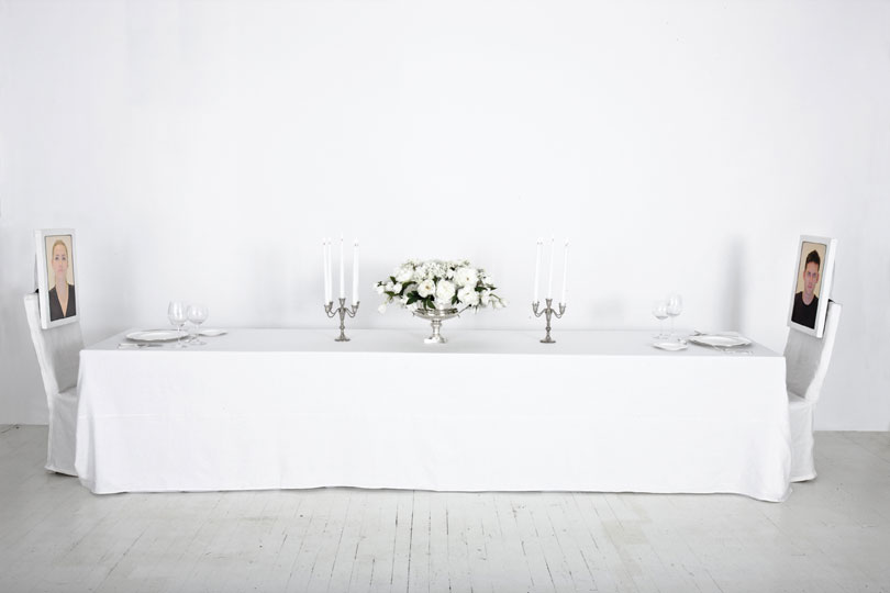 <em>Dinner for Two,</em> 2012 Mixed media installation 5 x 16 x 2.3 ft.