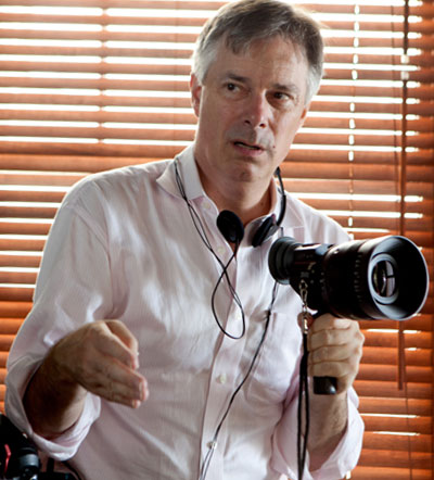 Whit Stillman (director) on set Photo by Kerry Brown, Courtesy of Sony Pictures Classics