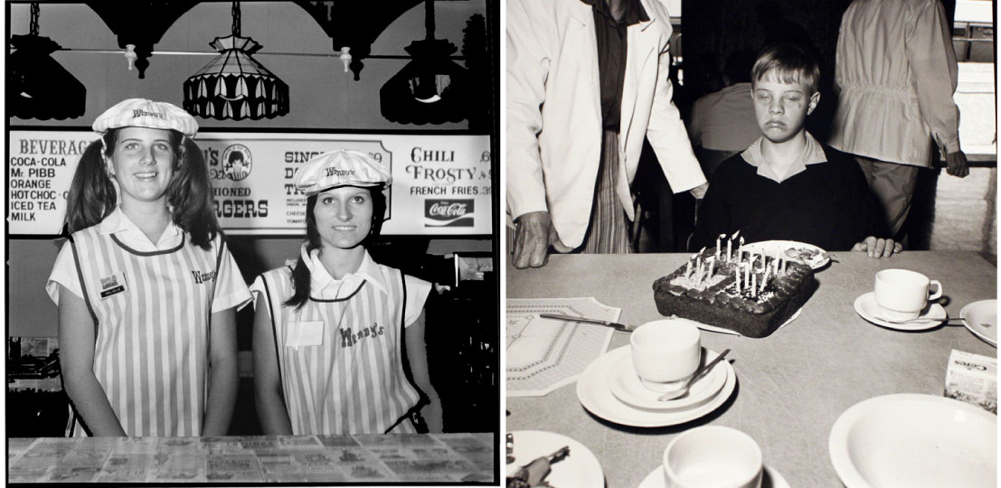 Left: Melanie and Lisa, Mississippi (1977). Right: Happy Birthday, South Africa (1990, printed 1992).