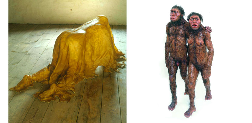 Left: Saddle, Janine Antoni 2000.  Right:  Masters of the Universe, Tim & Sue Noble & Webster 1998-2000.