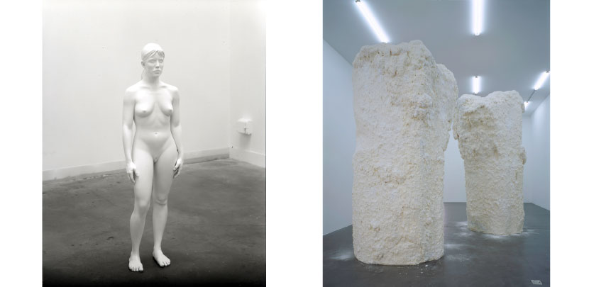 Left: Aluminum Girl,  Charles Ray. 2003. Right:  Untitled (Chocolate Mountains), Terence Koh. 2006